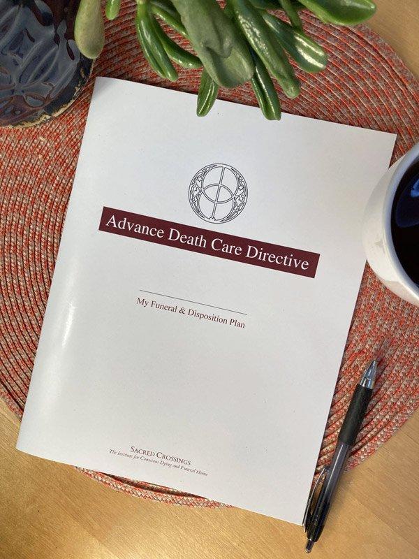 Advance Death Care Directive on a Desk